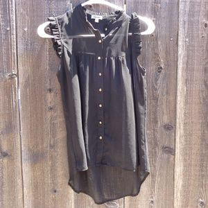 LILY STAR BUTTON DOWN BLOUSE SHEER SLEVELESS XS